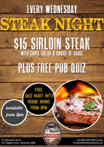 $15 Steak Night & Free Quiz @ The Woodvale Tavern and Reception Centre  | Woodvale | Western Australia | Australia