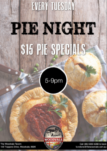 $15 Pie Night @ The Woodvale Tavern and Reception Centre | Woodvale | Western Australia | Australia