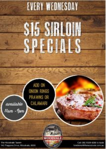 $15 Steaks All Day & Quiz Night From 8pm @ The Woodvale Tavern & Reception Centre
