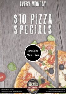 $10 Pizza Day @ The Woodvale Tavern & Reception Centre